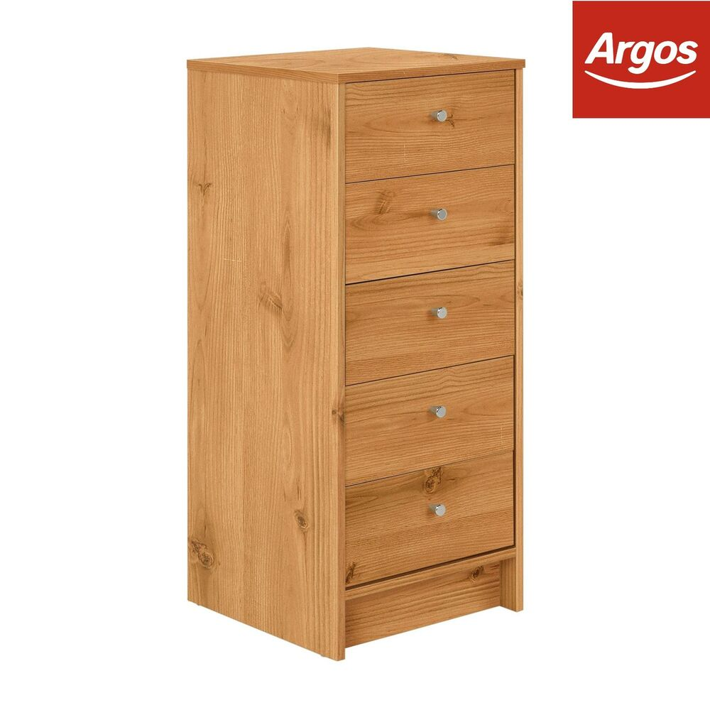 home new malibu 5 drawer tall narrow chest of drawers pine effect from argos ebay. Black Bedroom Furniture Sets. Home Design Ideas