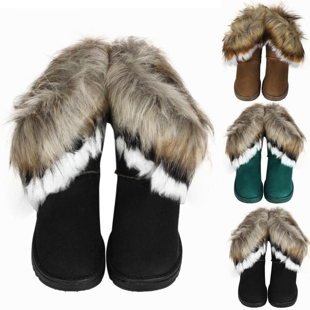 FASHION WOMEN WINTE WARM HIGH ANKLE SNOW BOOTS RABBIT FUR