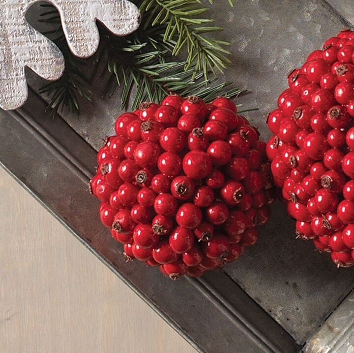 "Christmas Berry Tree Hawaii: RAZ Imports~4"" RED BERRY BALL ORNAMENT~Cranberry/Garland"