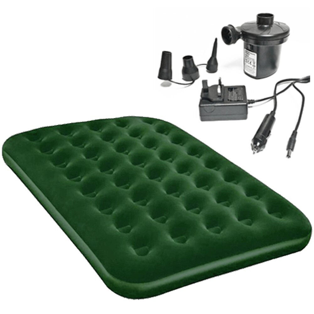 double or single green airbed with electric air pump 12v 240v camping guest bed ebay. Black Bedroom Furniture Sets. Home Design Ideas