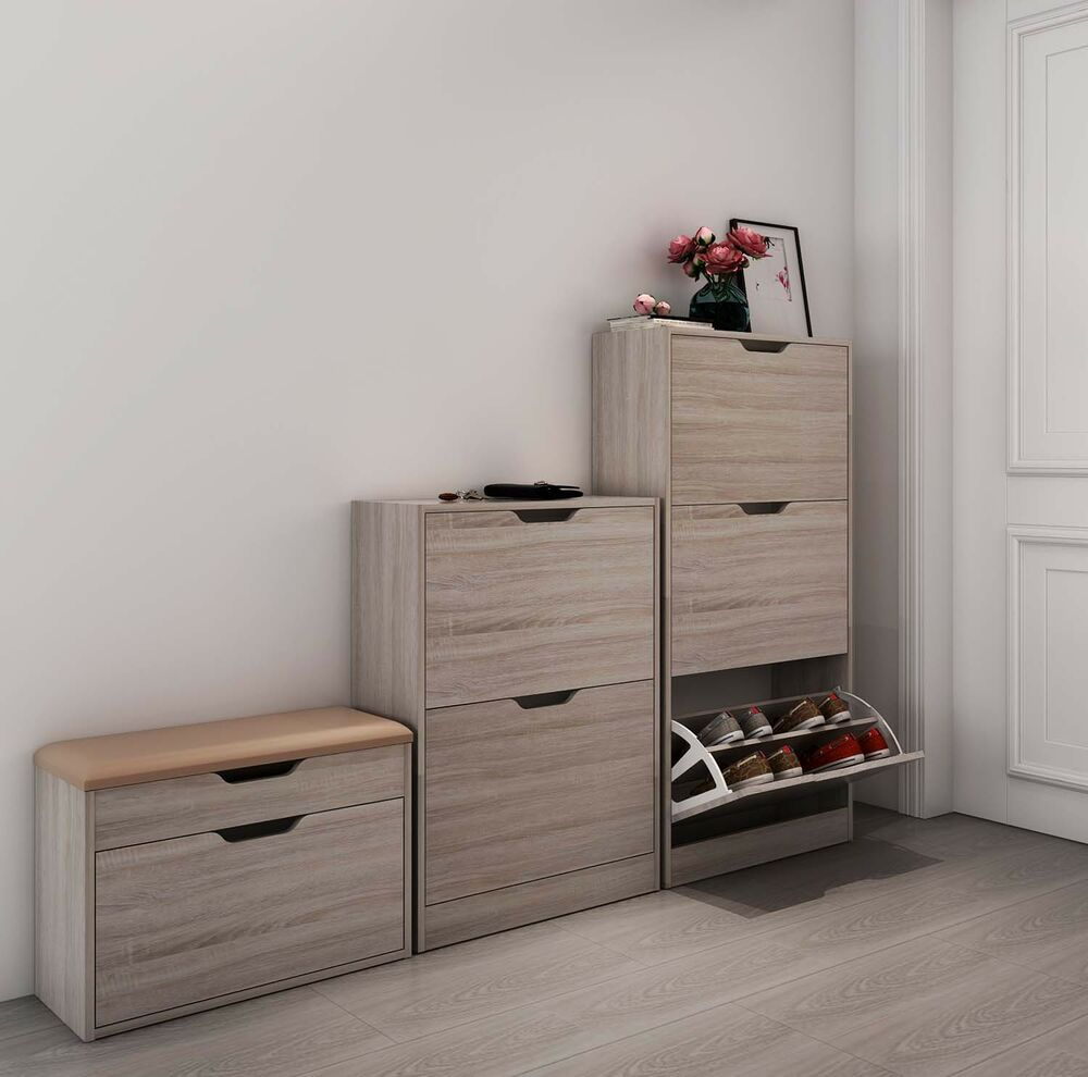 schuhschrank schuhkipper 3 kipper 2kipper schuhregal schuhablage eiche ebay. Black Bedroom Furniture Sets. Home Design Ideas