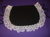 VICTORIAN STYLE MAIDS APRON in BLACK Cotton & White Lace !!! Made in England !!!