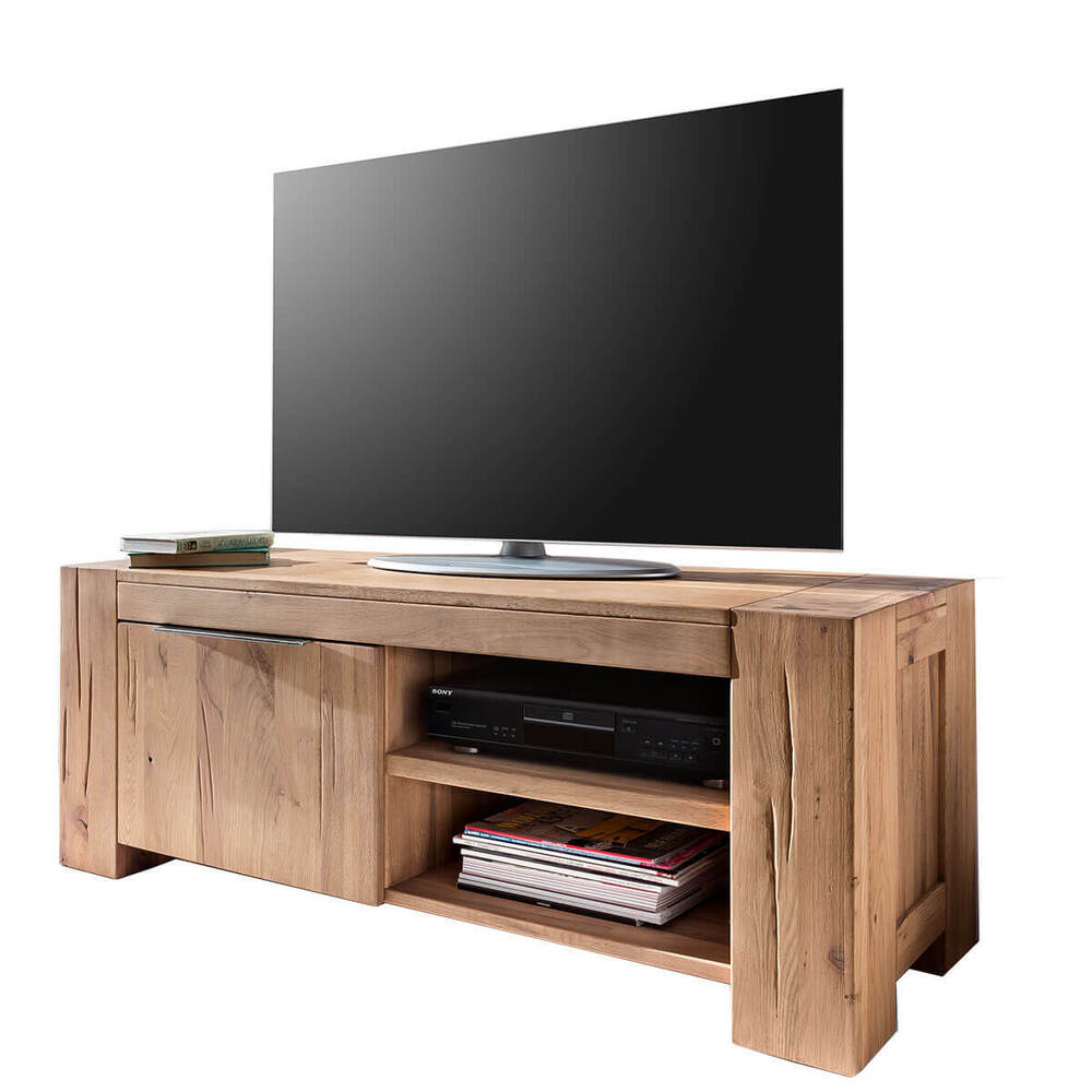tv lowboard 130cm tv schrank eiche natur ge lt fernsehschrank anrichte wildeiche ebay. Black Bedroom Furniture Sets. Home Design Ideas