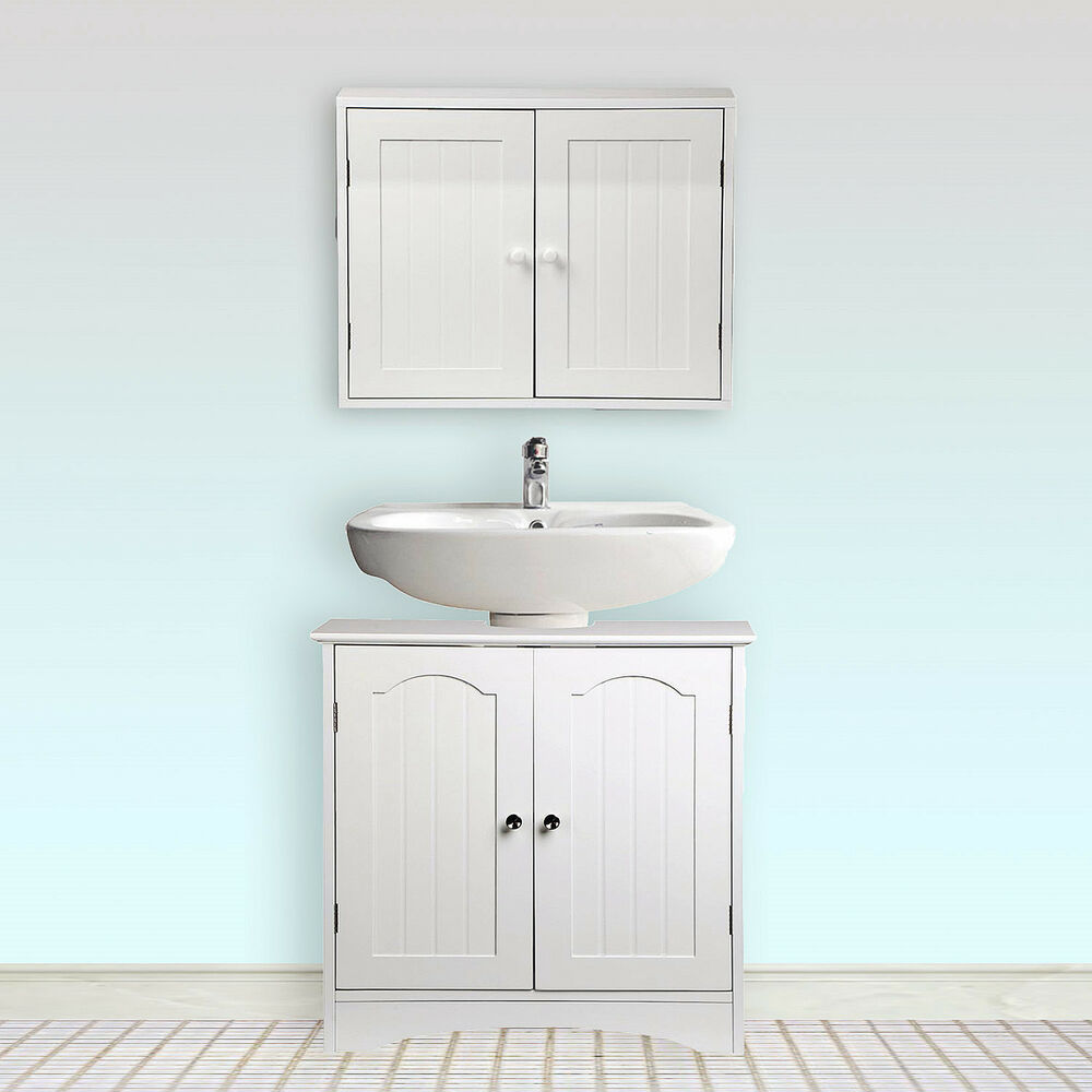 White Wooden Bathroom Wall Mount Storage Cabinet Under Sink Cupboard Set 2 Door Ebay
