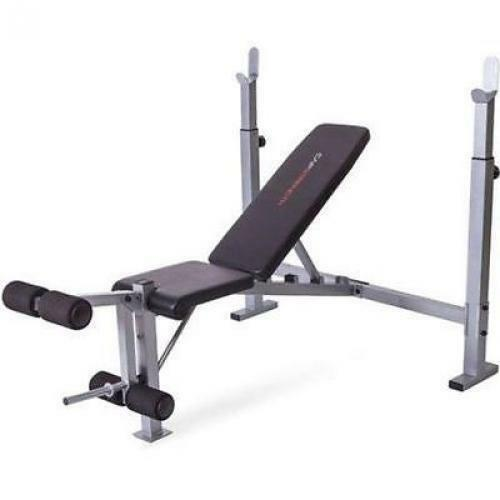Free Weights On Bench: Olympic Weight Bench Set Press Fitness Home Gym Workout