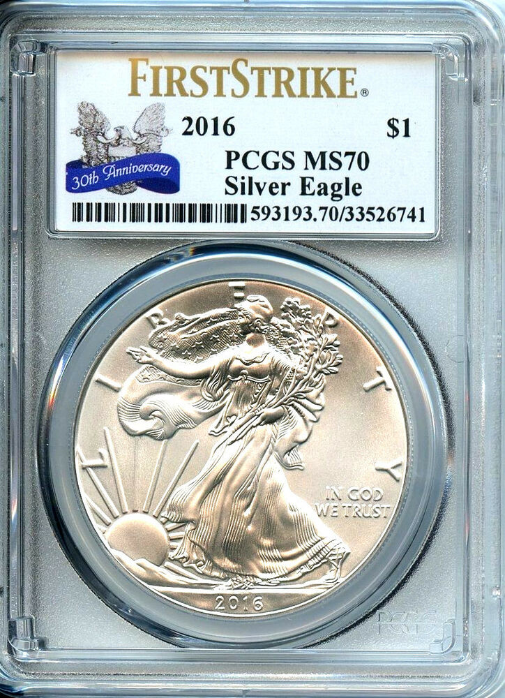 2016 Silver American Eagle Dollar Pcgs Ms70 Coin First
