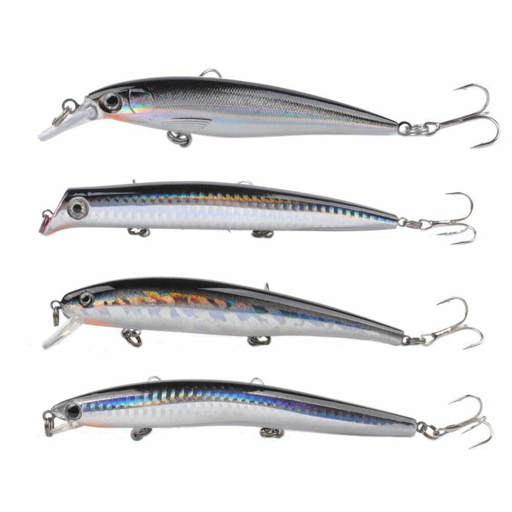 Lot 4 fishing lure minnow plug popper 130mm saltwater for Saltwater fishing lures