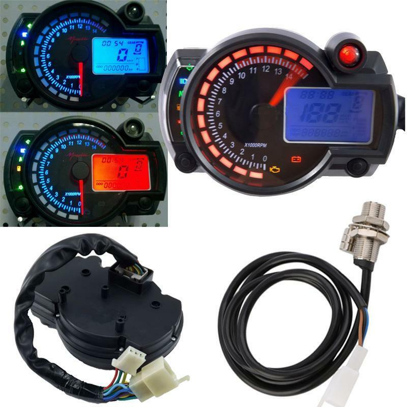Electronic Speedometer Gauges : Rpm lcd digital motorcycle universal speedometer