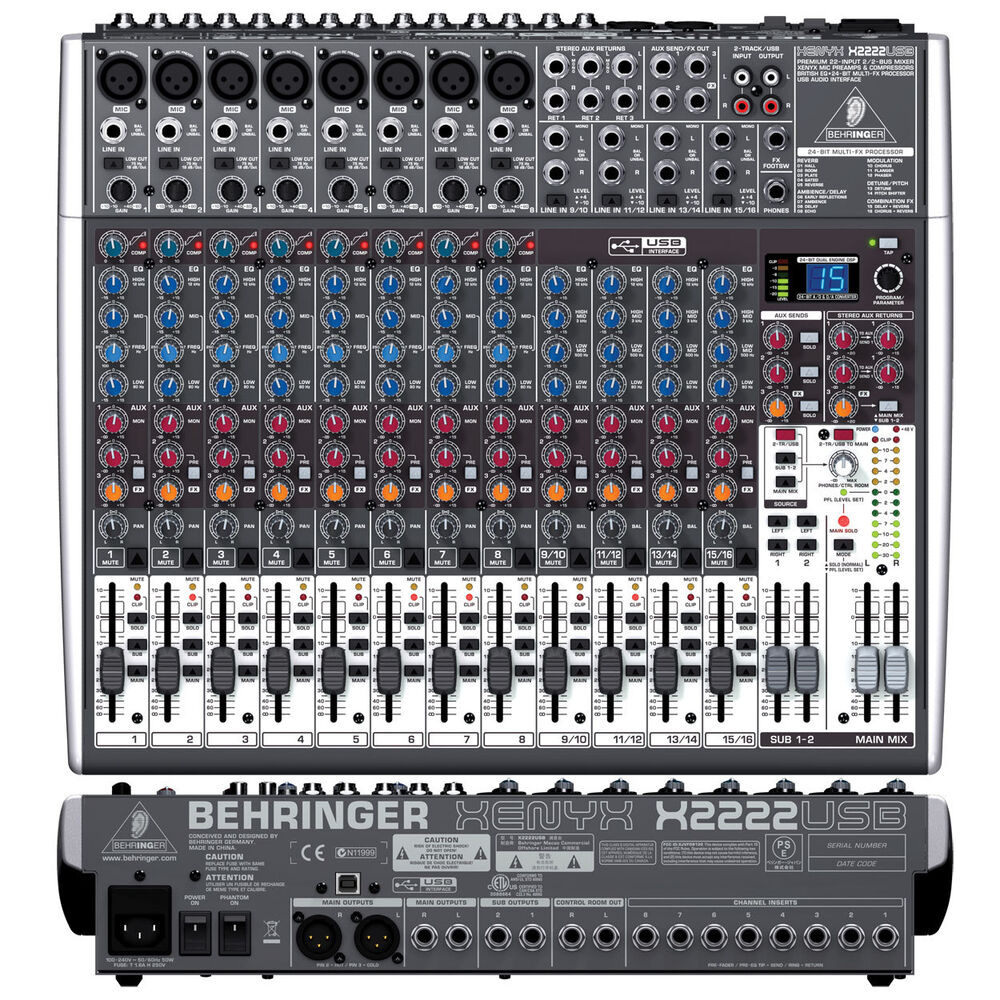 behringer xenyx x2222usb 22 input usb analog mixer with xenyx preamps ebay. Black Bedroom Furniture Sets. Home Design Ideas