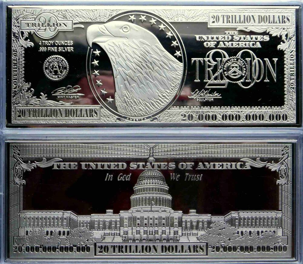 20 Trillion Proof 4oz Silver Currency Bar In Air Tite