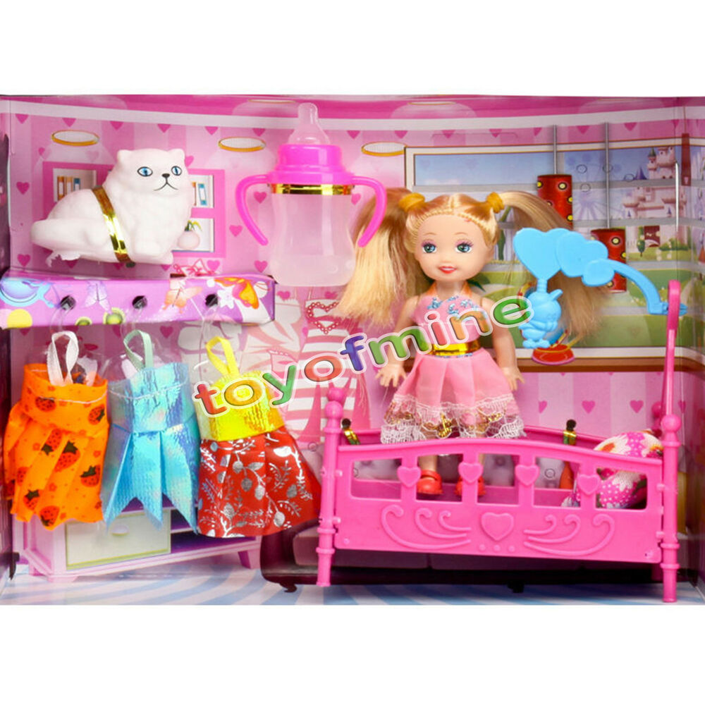 Fashion Pretty Princess On Bed Change Clothes Doll Toy Set