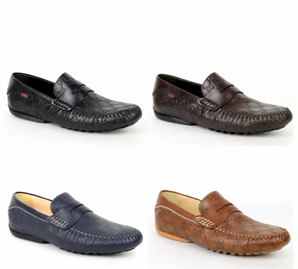 New Gucci Menu0026#39;s Guccissima Leather Loafer Moccasin Driver Shoes 170618 | EBay