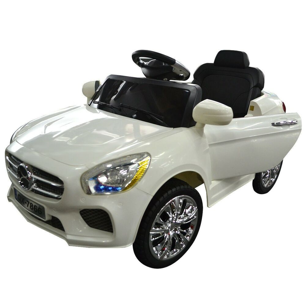 white kids ride on car rc remote control battery powered w led lights mp3 new ebay. Black Bedroom Furniture Sets. Home Design Ideas