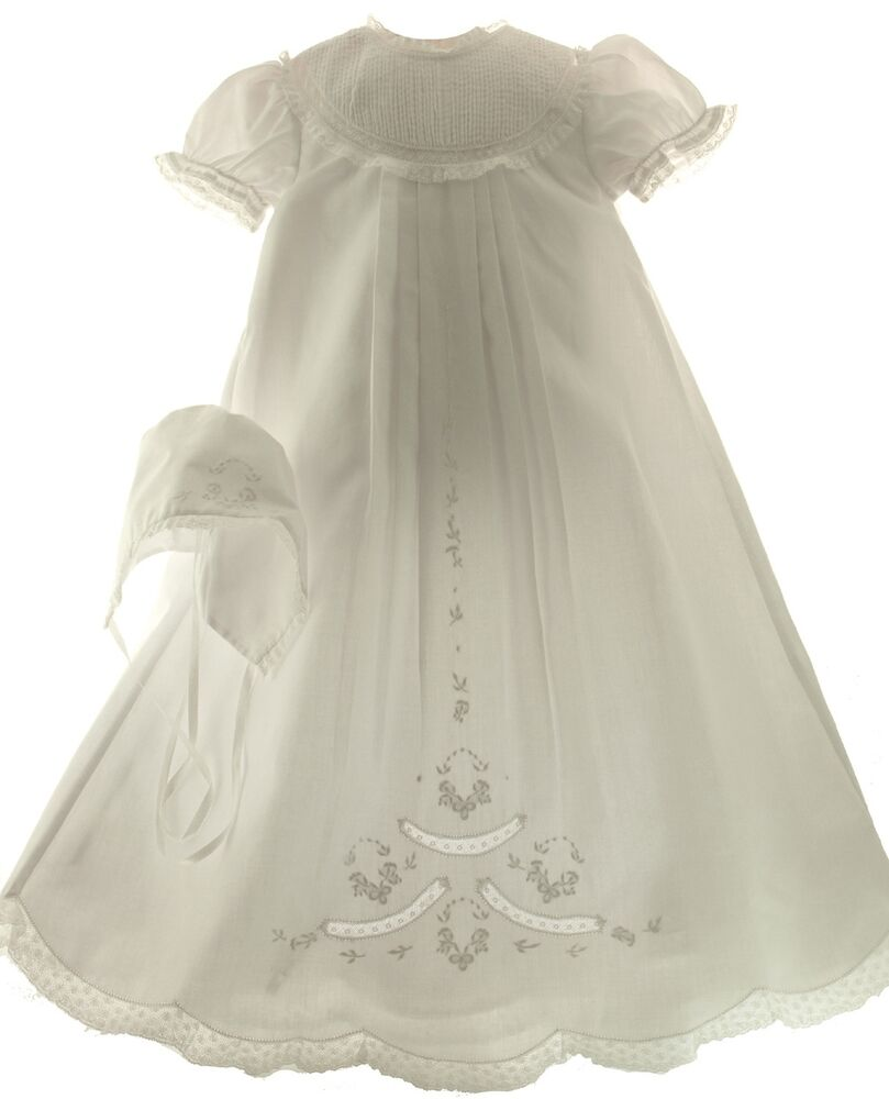 Girls White Christening Gown Slip Amp Bonnet Set Feltman