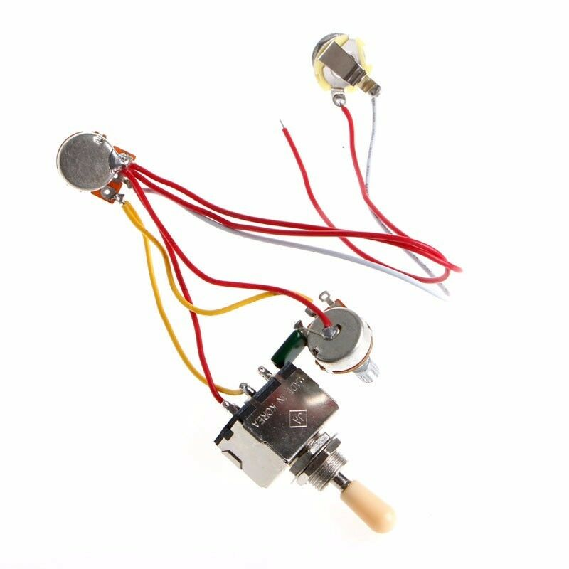 guitar wiring harness 3 way toggle switch 1v1t 500k for lp. Black Bedroom Furniture Sets. Home Design Ideas