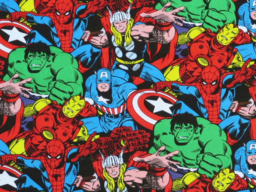 Marvel Malvorlagen Marvel Superhero The Marvel Super: FAT QUARTER MARVEL COMIC PACK SUPERHERO FABRIC SUPER HERO