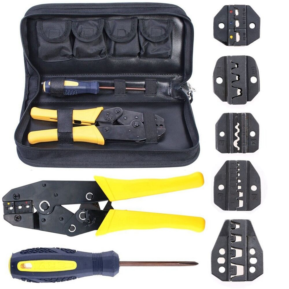 insulated terminals ferrules plier ratcheting crimper tool wire crimp w 5 dies ebay. Black Bedroom Furniture Sets. Home Design Ideas