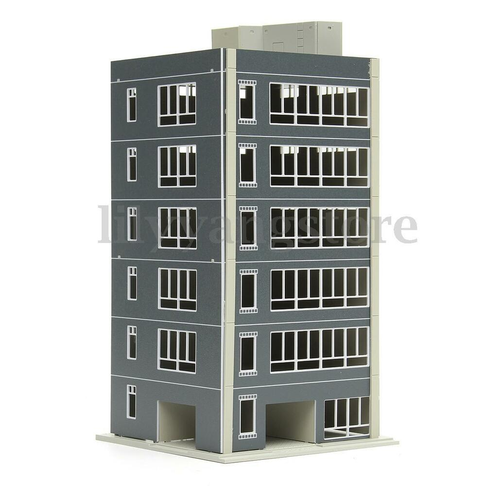 Contemporary Three Storied Residential Building: Outland Models Railway Modern 1:100 Scale 6-Story Painted