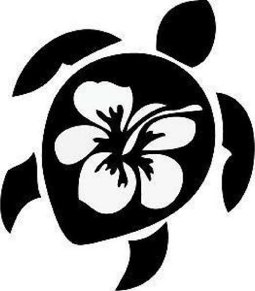 Sea Turtle Hibiscus Vinyl Decal Cute Reptile Marine Turtle