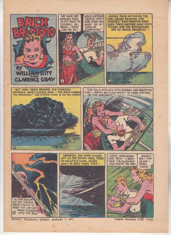 Details about Australian Newspaper Comic Strip Jan 7 1945: Brick Bradford &  The Pussycat Prin