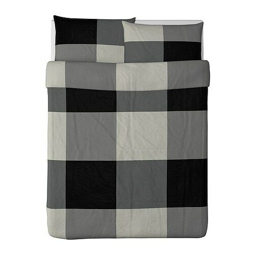 Ikea duvet cover queen full size brunkrissla black for Ikea bed covers sets queen