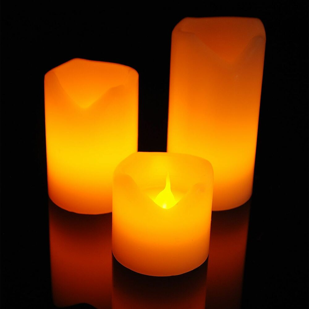 Set Of 3 Flickering Flame Led Flameless Wax Mood Candles