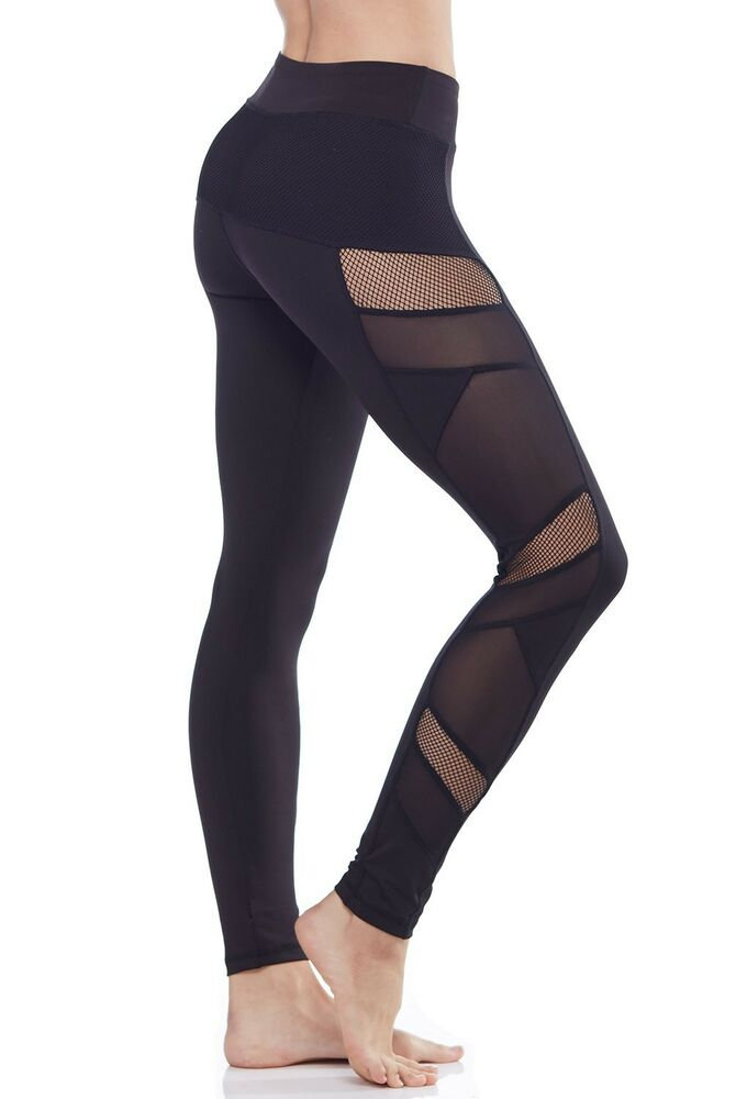 mesh yoga pants electric mesh panel workout exercise 10780