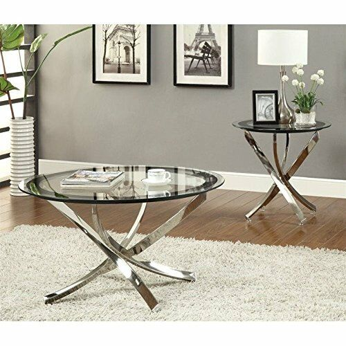 Coaster Home Furnishings Contemporary End Table Chrome Furniture Decor Glass New Ebay