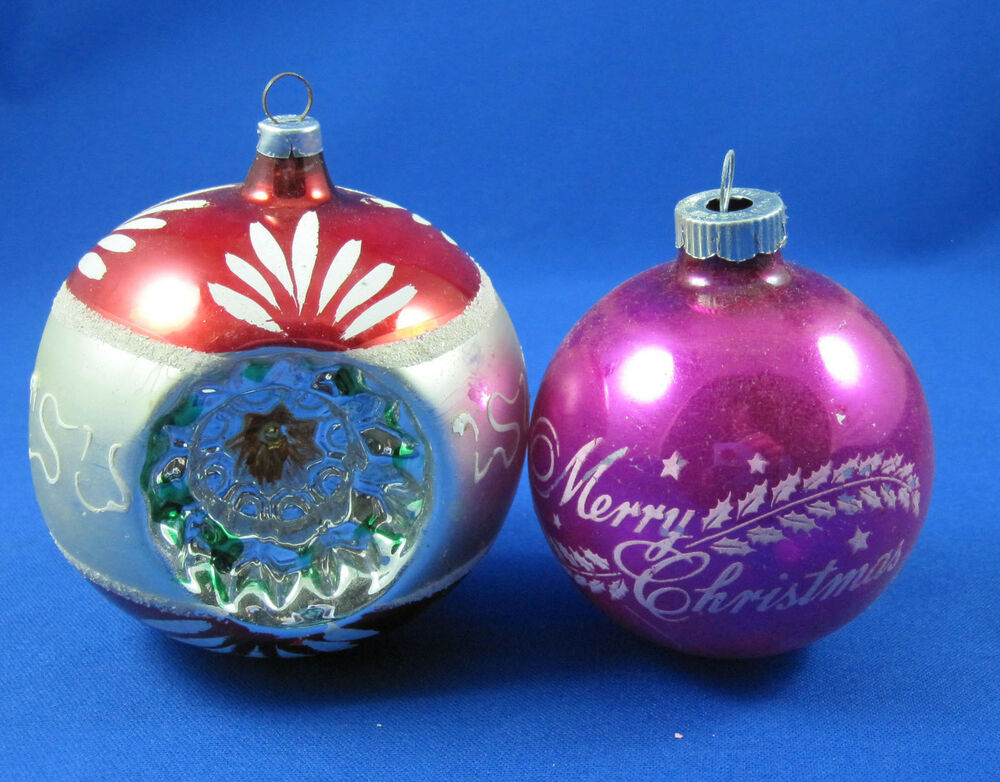 Christmas 2 Blown Glass Ornaments Vintage Antique West ...