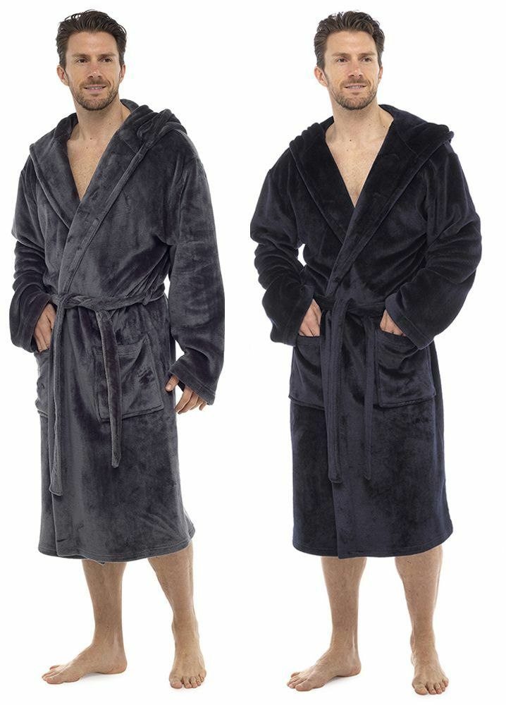 603bce5c50 Wolf   Harte Mens Super Soft Fleece Hooded Dressing Gown Bath Robe M L L XL
