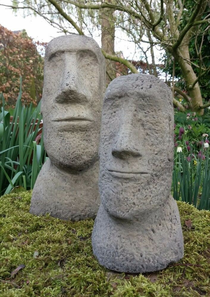 Stone garden pair of moai easter island head tiki