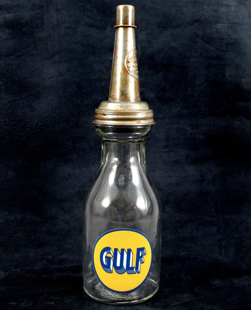 Gulf Quart Motor Oil Bottle With Metal Spout Cap Fill To