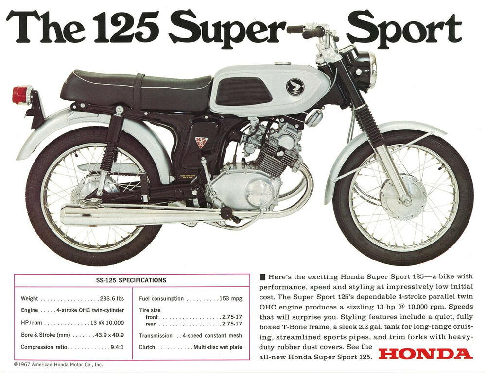 honda brochure ss125 cb125 twin 1960s repro sales catalog. Black Bedroom Furniture Sets. Home Design Ideas
