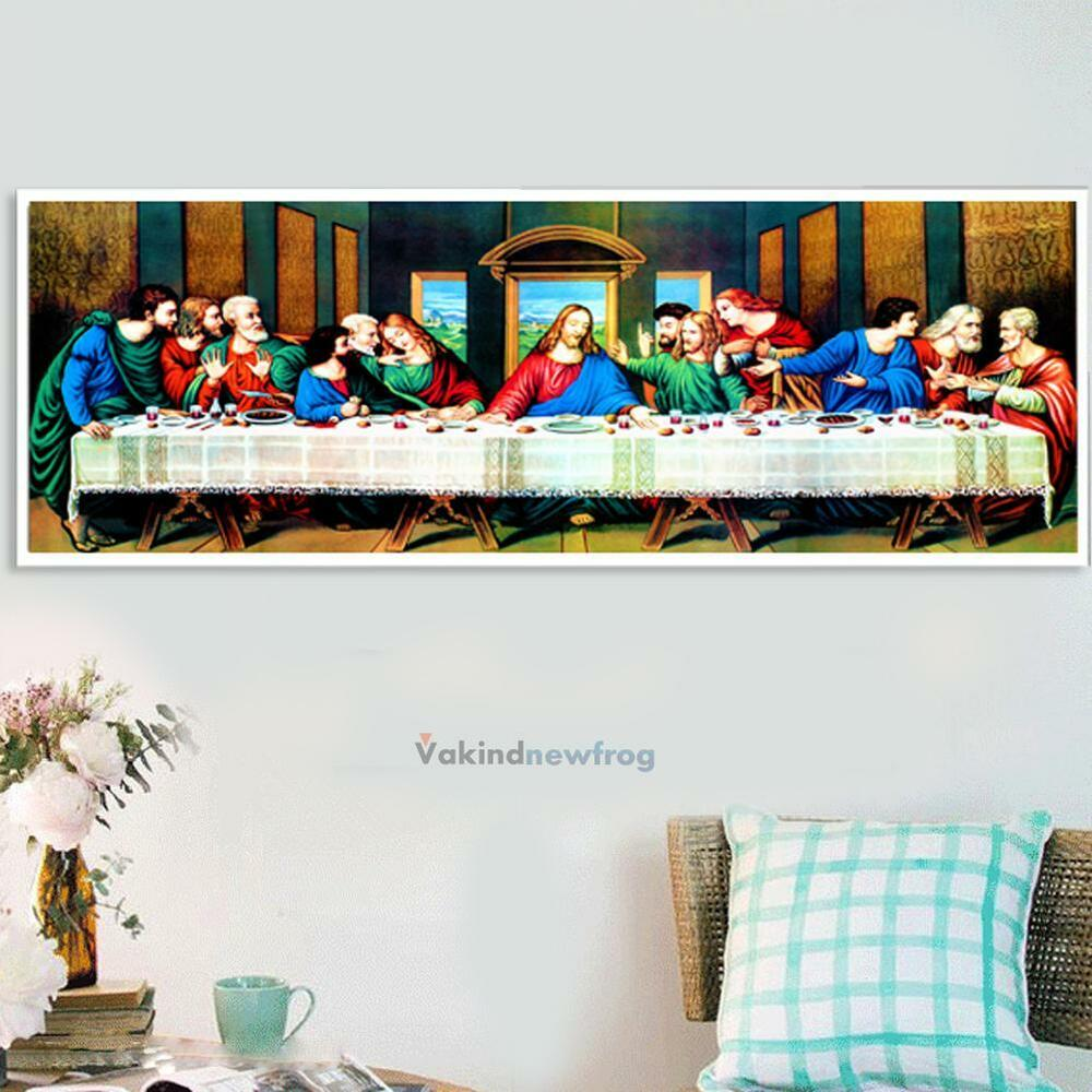 Diy 5d diamond embroidery the last supper painting cross for Home decorations ebay