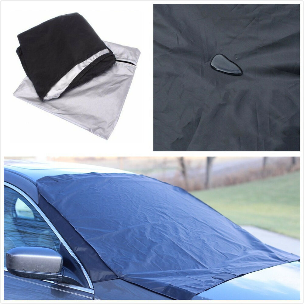 waterproof black car truck front windshield snow ice frost cover protector flap ebay. Black Bedroom Furniture Sets. Home Design Ideas