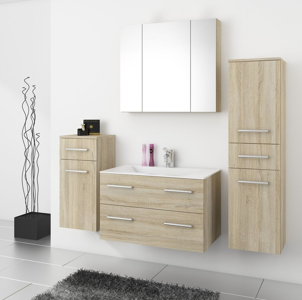 top badm bel badezimmer regina 5tlg set in sonoma eiche mit 80 cm waschtisch ebay. Black Bedroom Furniture Sets. Home Design Ideas