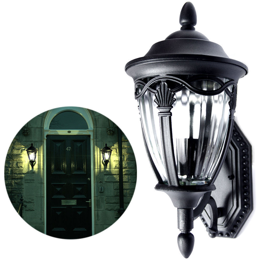 Outdoor exterior lantern wall lighting fixture black sconce us garden yard house ebay for Exterior light sconce