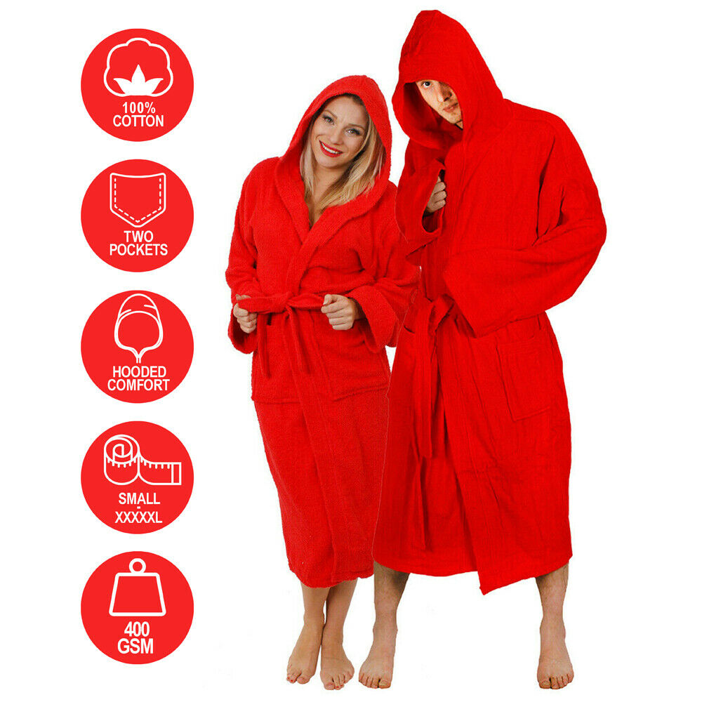 red hooded bathrobe 100 cotton adult robe mens ladies dressing gown towel m 5xl ebay. Black Bedroom Furniture Sets. Home Design Ideas