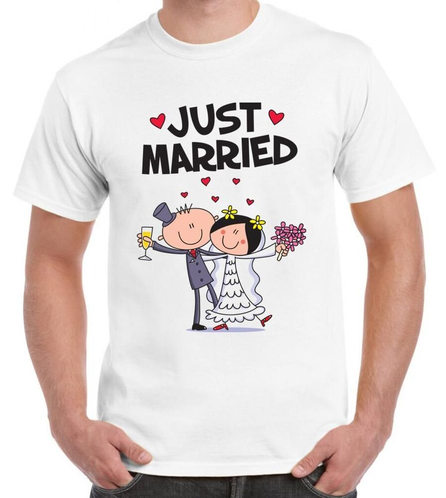 Just Married Men 39 S Wedding T Shirt Funny Present Gift Ebay