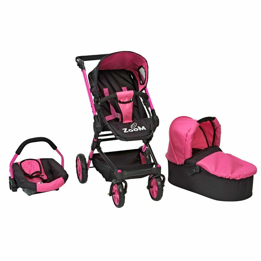 Girls Zoom 3 In 1 Dolls Car Seat Pushchair Buggy