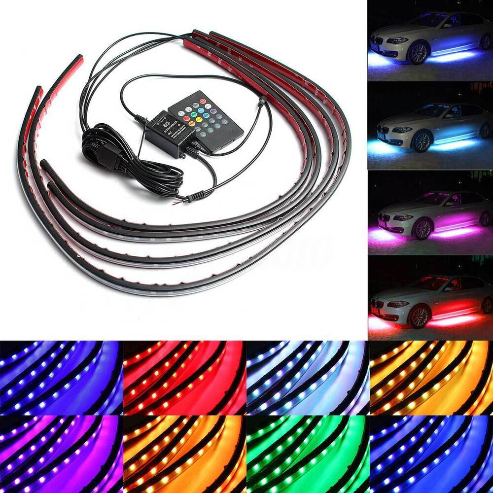 4x rgb led strip tube car underglow underbody neon light. Black Bedroom Furniture Sets. Home Design Ideas