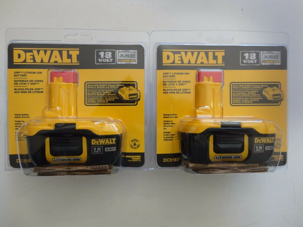 Dewalt Dc9182 18v 18 Volt Lithium Ion Battery Packs X 2