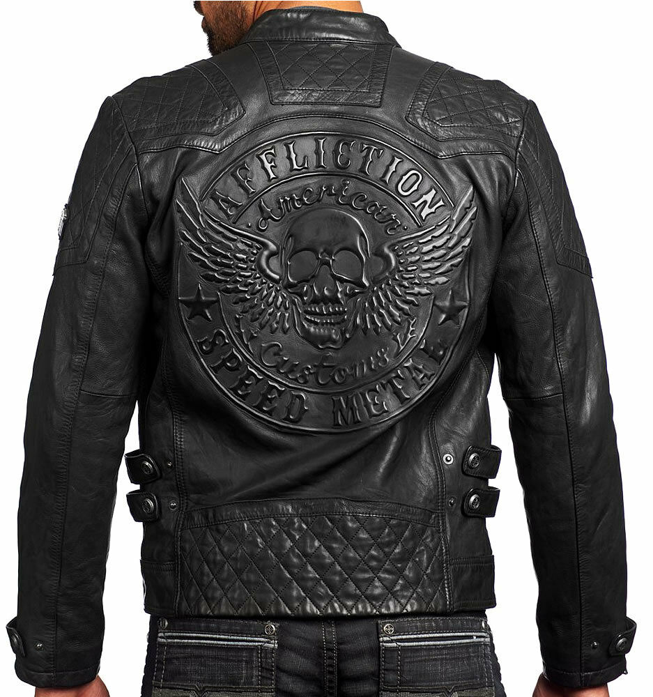affliction american customs on fire mens leather
