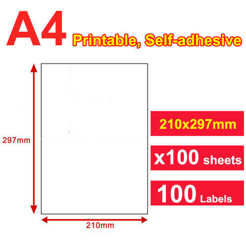 100 Sheets 1 Up 210 X 297mm Peel & Paste Label A4 Office
