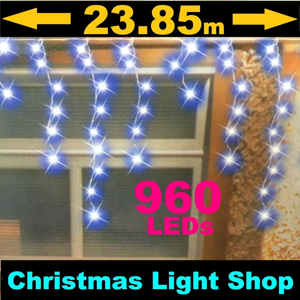 960 BLUE LED Flashing ICICLES 23m Hanging Outdoor Christmas Lights W Timer N