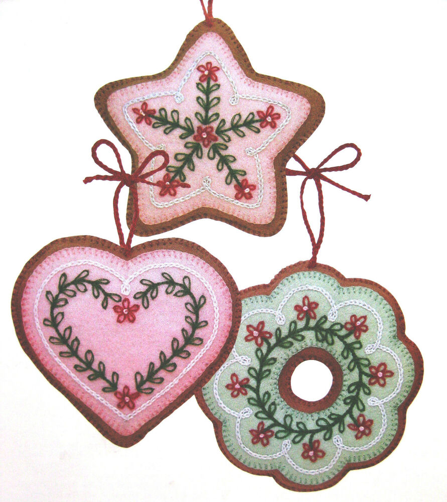 Christmas Felt Decorations Patterns: WOOL FELT COOKIE CHRISTMAS TREE ORNAMENTS VINTAGE SEWING