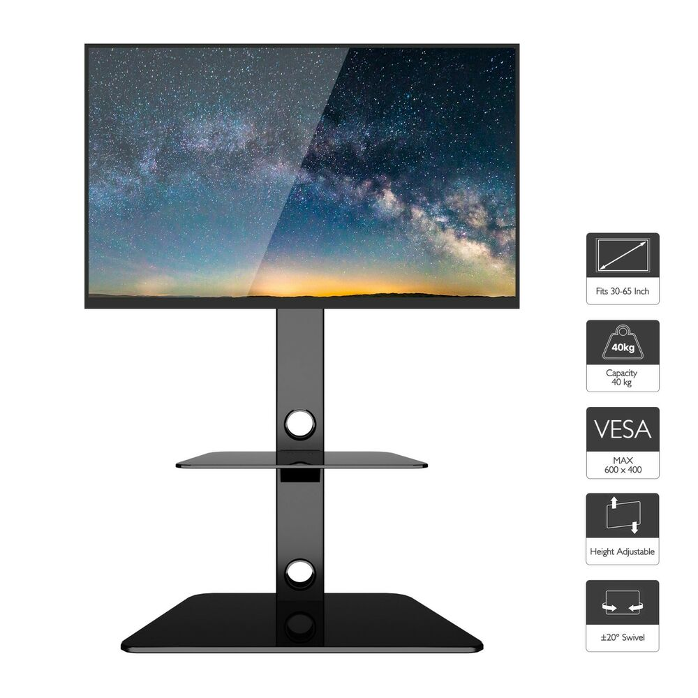 Black Glass Tv Stand Cantilever With Wall Bracket For 32