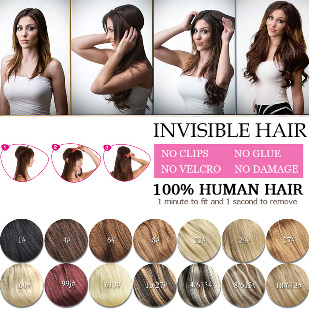 Crown Wire Invisible Headband Hair Extensions Halo Style 100 Human