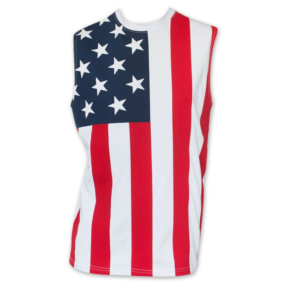 Usa patriotic american flag stars and stripes men 39 s muscle for Mens shirt with stars