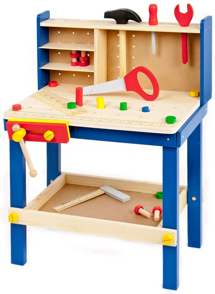34 Piece Wooden Tool Work Bench Table Amp Tools Children S Kids Play Toy Xmas Gift Ebay